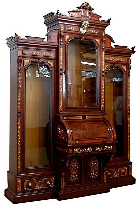 For Michael and I's library.   Exquisite Renaissance Revival Bookcase Cylinder Desk: