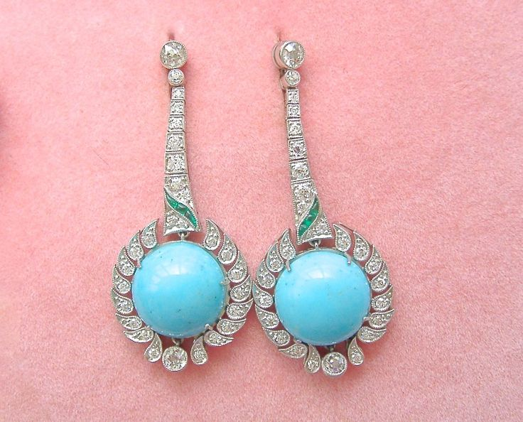 Finca de Estilo Art Deco 1.54 Quilates Diamante Esmeralda de 14 quilates Turquesa, Cuelgan pendientes Cóctel | eBay