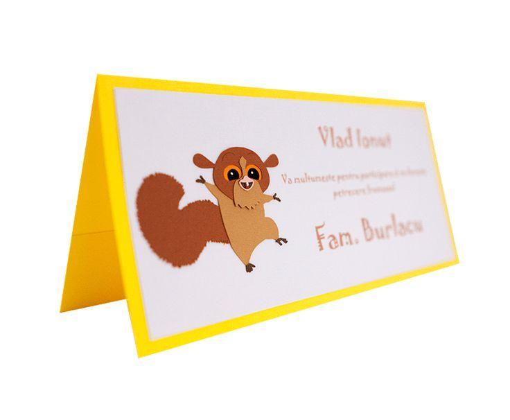 Card asezare botez cu model inspirat din personajul Madagascar Mort, si realizat din carton aplicat in multiple straturi #Botez #BabyShower