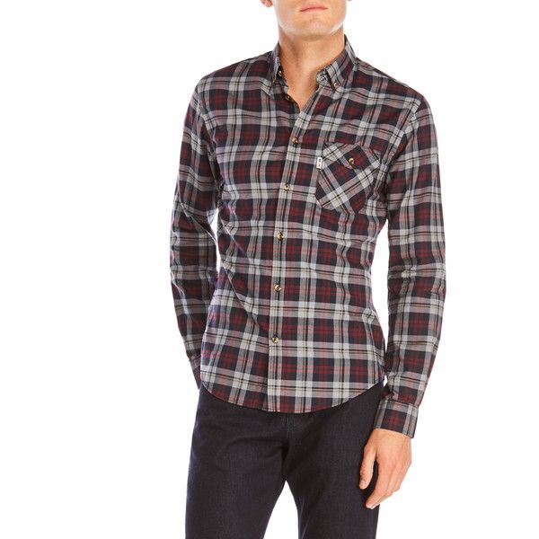 Moods Of Norway Freddy Vik Slim Fit Button-Down Shirt ($60) ❤ liked on Polyvore featuring tops, purple, slimming tops, slim fit button up shirts, purple plaid shirt, plaid button down shirt and slim shirt
