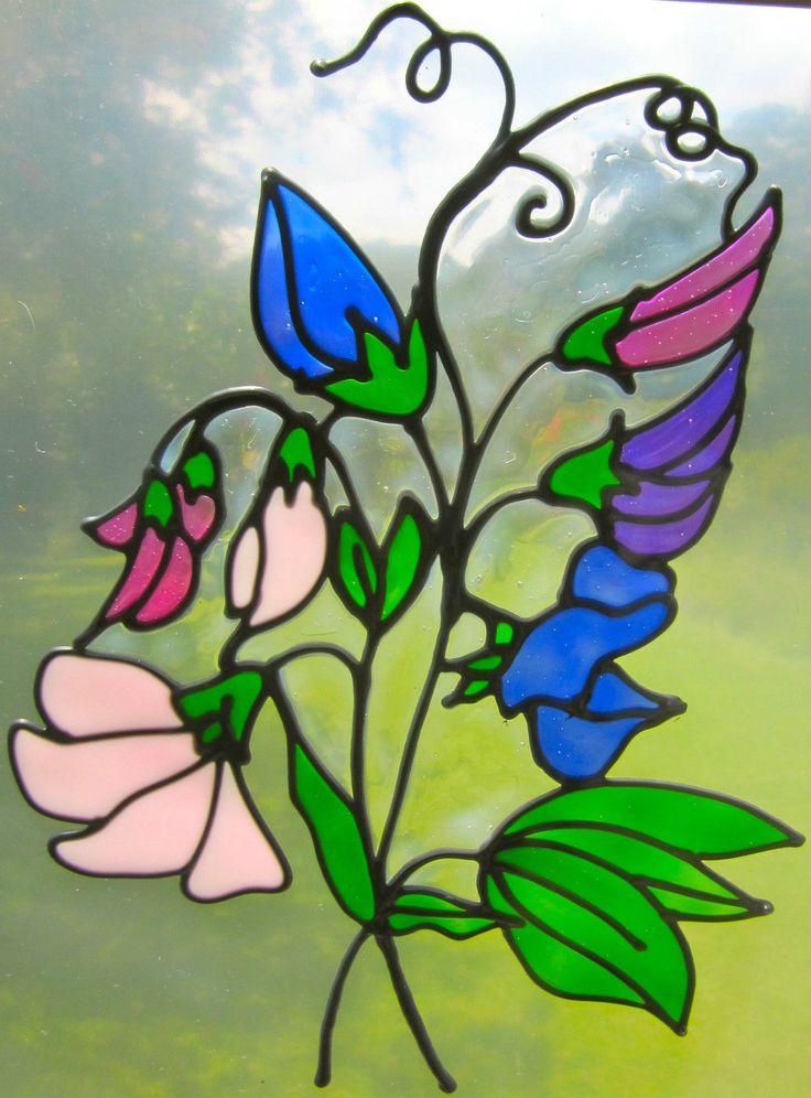 душистый горошек цветы окрашивают стекло стиль Suncatcher окна стикер leadlight   eBay