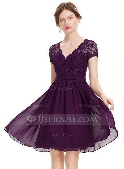 Corte A/Princesa Escote en V Hasta la rodilla Gasa Vestido de baile de promoción (018133451)