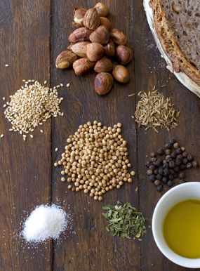 dukkah recipe - spices, nuts, salt, mint. toasted and lovely with sumac on good naan.