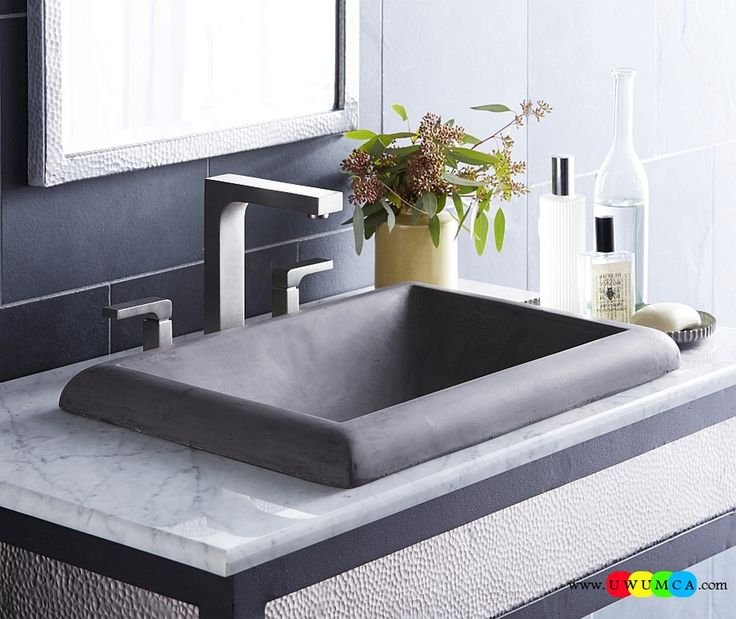 Bathroom:Contemporary Modern Artisan Crafted Sinks Handcrafted Vessel Metal Sink Bathroom Interior Furniture Decor Design Ideas Montecito Rectangle Lavatory Sink Eco-Conscious, Artisan Crafted Sinks Sparkle With Contemporary Class