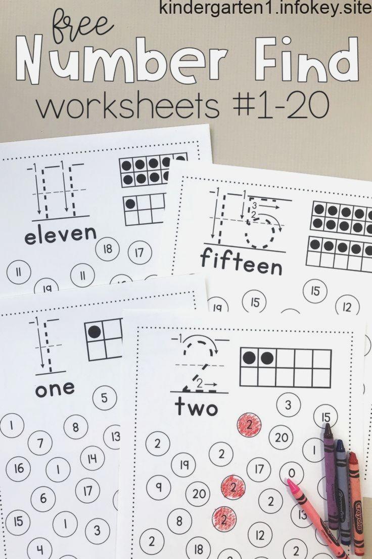 Number Find Worksheets 1 20 Kindergarten Math Activities Preschool Math Worksheets Number Recognition Worksheets [ 1104 x 736 Pixel ]
