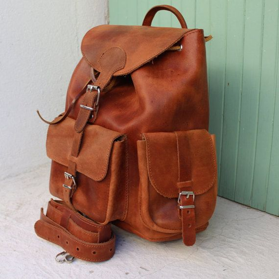 Leather small backpack women's zaino by EATHINI on Etsy