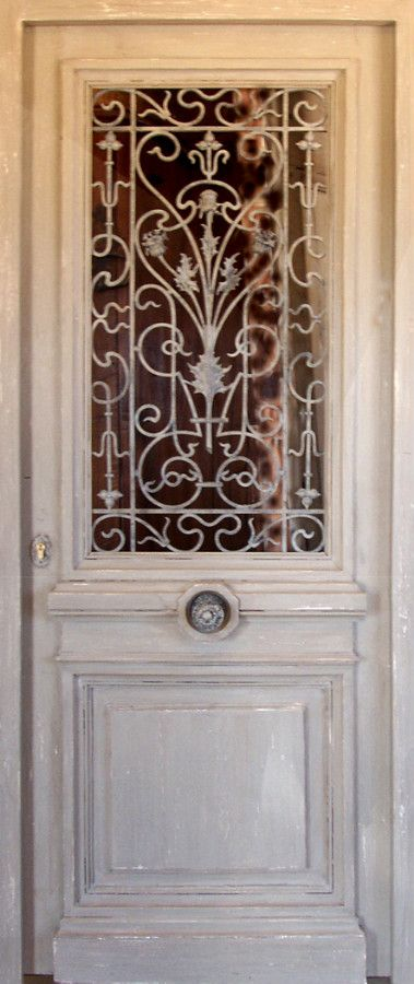 decorative front doors | Door with decorative iron bars Glazed section opens. Front doors ...