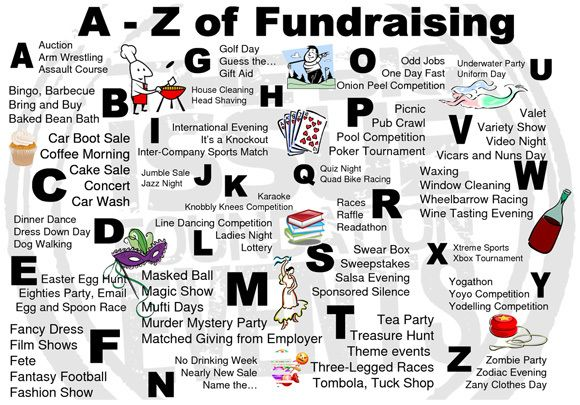 Fundraising Ideas A to Z. I especially like the 3 leg race, valet, and treasure hunt ideas!
