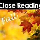Close reading passages for fall:  Leaves, pumpkins, bats, spiders, owls, Halloween, Thanksgiving, turkeys, Pilgrims. Varies activities for each topic such as open ended questioning, text dependent questions, read and highlight and more!