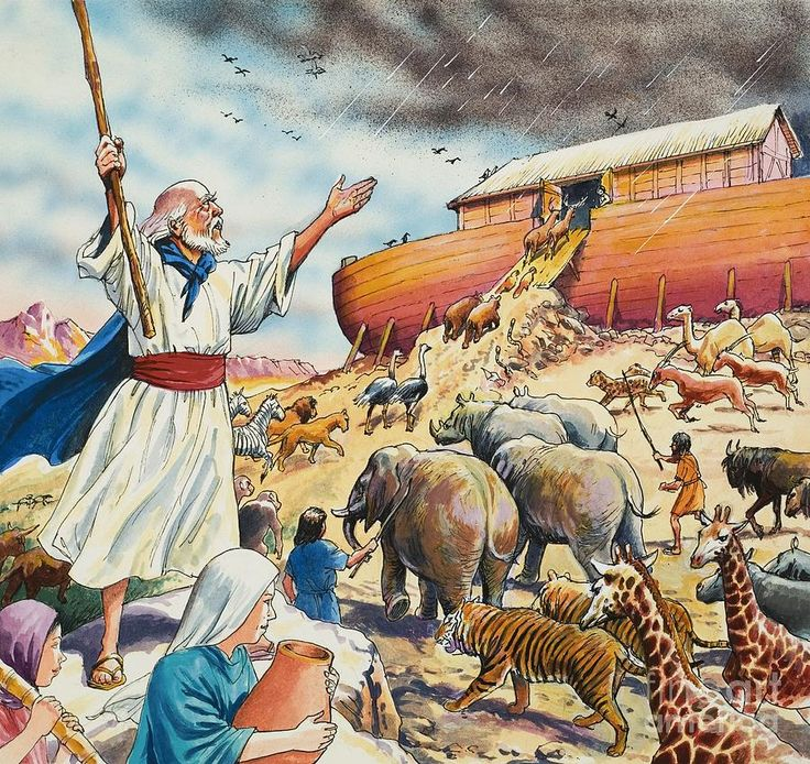 Biblical Scene Noahs Ark by English School | Christian ...
