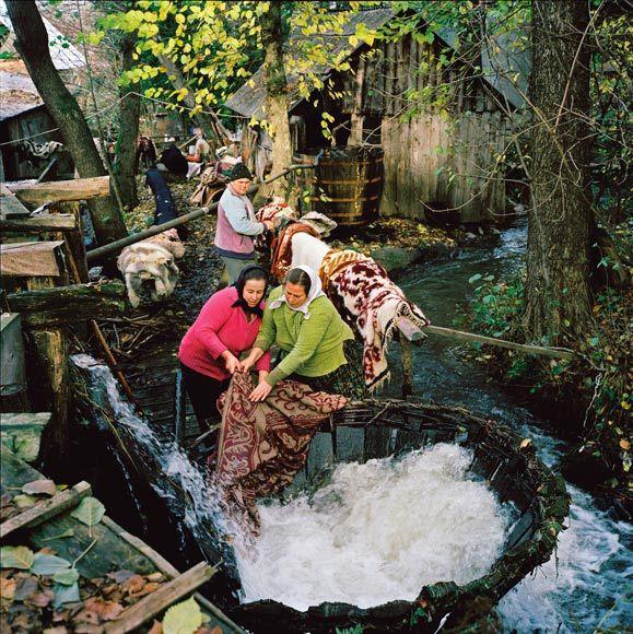Washing carpets the traditional way #Transylvania #Romania