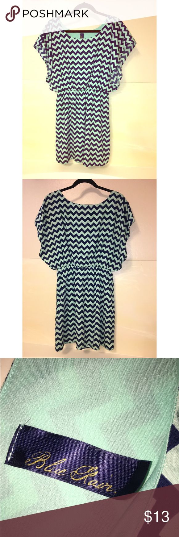 Navy and mint chevron dress Adorable and comfy dress. Fully lined. Super flattering! 🎀great offers accepted🎀 Blue Rain Dresses Mini