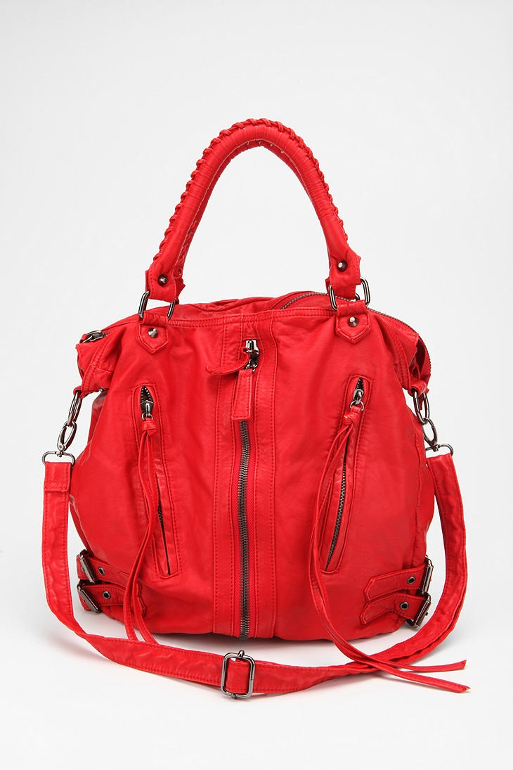 I have this is grey. Great cross-body bag. Like that it is again available in this rockin' red. Deena & Ozzy Zip-Front Moto Satchel   #UrbanOutfitters