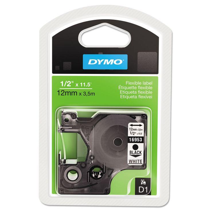 Dymo D1 Flexible Nylon Label Maker Tape 1/2in x 12ft Black on White