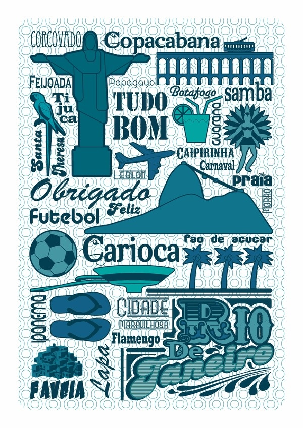 Rio Poster by GERALDESIGN , via Behance  http://www.behance.net/gallery/Graphismes/3167916  Buy on Etsy : https://www.etsy.com/listing/99960847/rio-poster