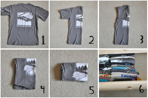 HowTo fold t-shirts to organize your drawer ~ via darkroom and dealy .. see also http://www.pinterest.com/pin/290060032221923307/