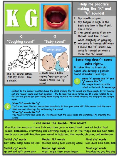 K/G Articulation Handout from Ms. B the SLP