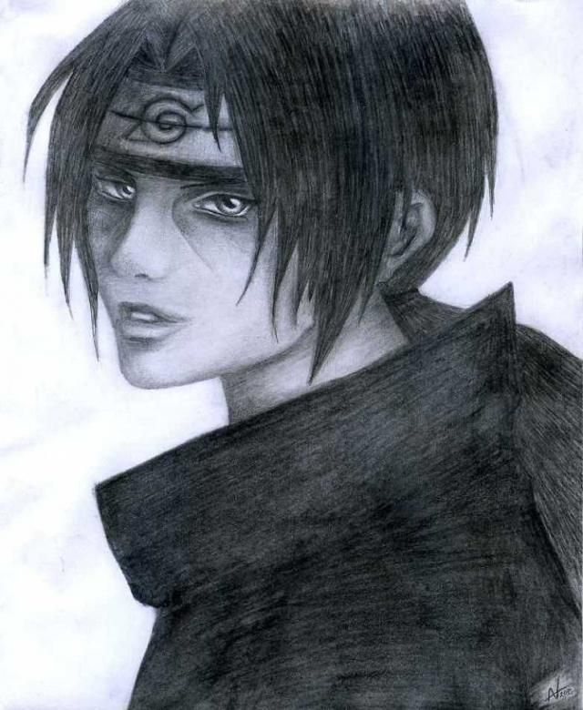 My favourite Itachi Uchiha in Black&White (drawed by me)