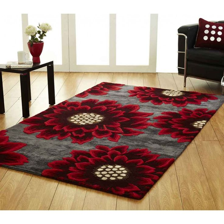 Poppy Floral Unique Rug by Ultimate Rug Presenting a rich blend of red and black colours, our Poppy Floral Unique Rug by Ultimate Rug with beautiful floral pattern will add spark to your living space. #woolrugs #luxuriousrugs #floralrugs #handmaderugs #modernrugs #redrugs #redfloralrugs