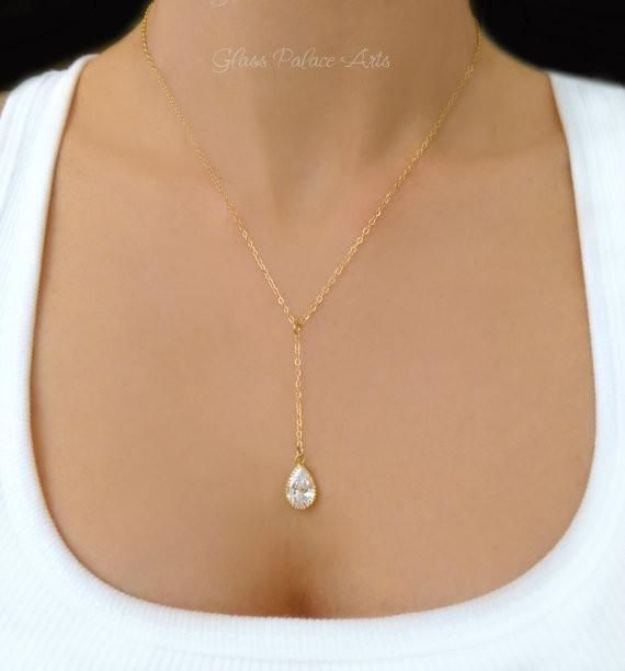 Y Necklace - Crystal Teardrop Necklace - Gold and Silver