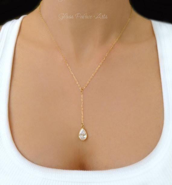 Y Necklace - Crystal Teardrop Necklace - Gold and Silver