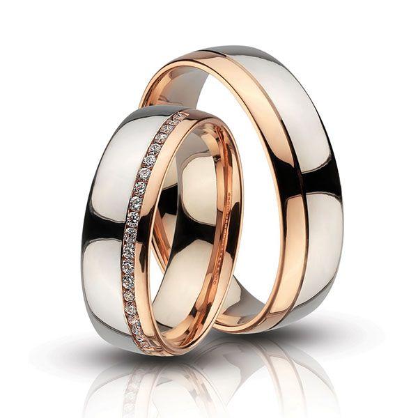 Fehér - vörös arany karikagyűrűk