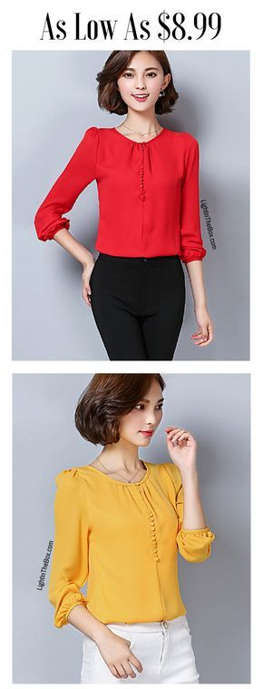 Red or mustard yellow? Which color suits you most? Find this elegant feminine long sleeve women wop in red, mustard, black, pearl pink colors at just $8.99. Click to see the details.