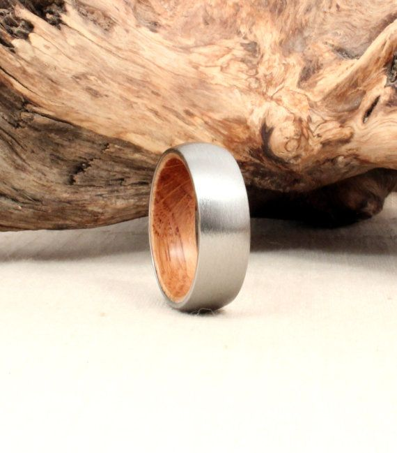 Titanium and Jack Daniels Whiskey Barrel White Oak Wedding Band, $260 | 45 Engagement Rings That Don't Suck