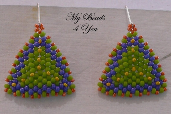 Beadwoven Tutorial Beaded Earring Tutorial Seed by mybeads4you, $5.00   Great tutorial! Make these earrings in just a few hours.: Beadwoven Tutorial, Earring Tutorial, Tutorial Seed, Tutorial Beaded, Debbeads Earrings, Beaded Earrings, Beading Tutorials