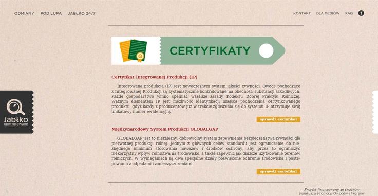 www.jablkokontrolowane.pl  Polskie Jabłka Wysokiej Jakości  Certyfikaty