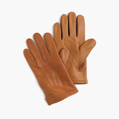 Cashmere-lined leather smartphone gloves - color tan