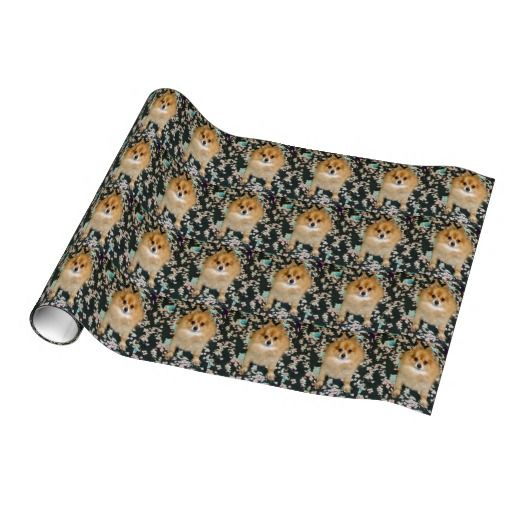 Wrapping Paper   Pomeranian Black floral