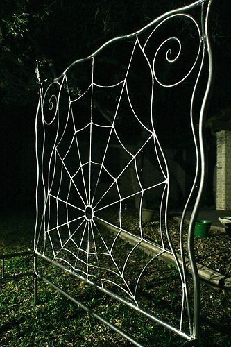 iron bed canopy queen sz. wrought iron bed, Gothic , spiderweb style. $1,550.00, via Etsy.