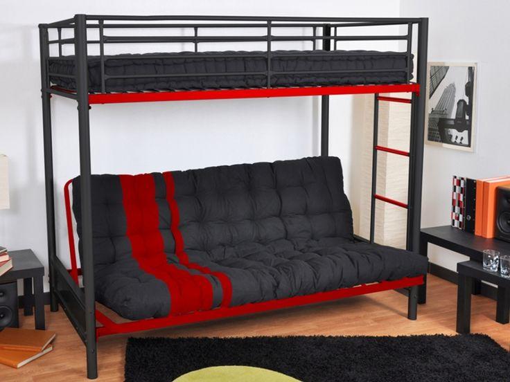 Lit mezzanine modulo iii 90x190cm noir et rouge 190 for Chambre ado garçon avec matelas bio 140x190