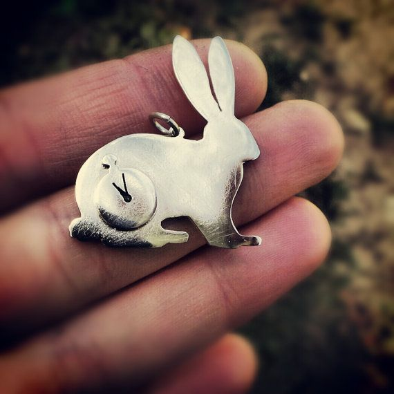 rabbit necklace bunny necklace hare pendant alice by LolaAndCash, $65.00
