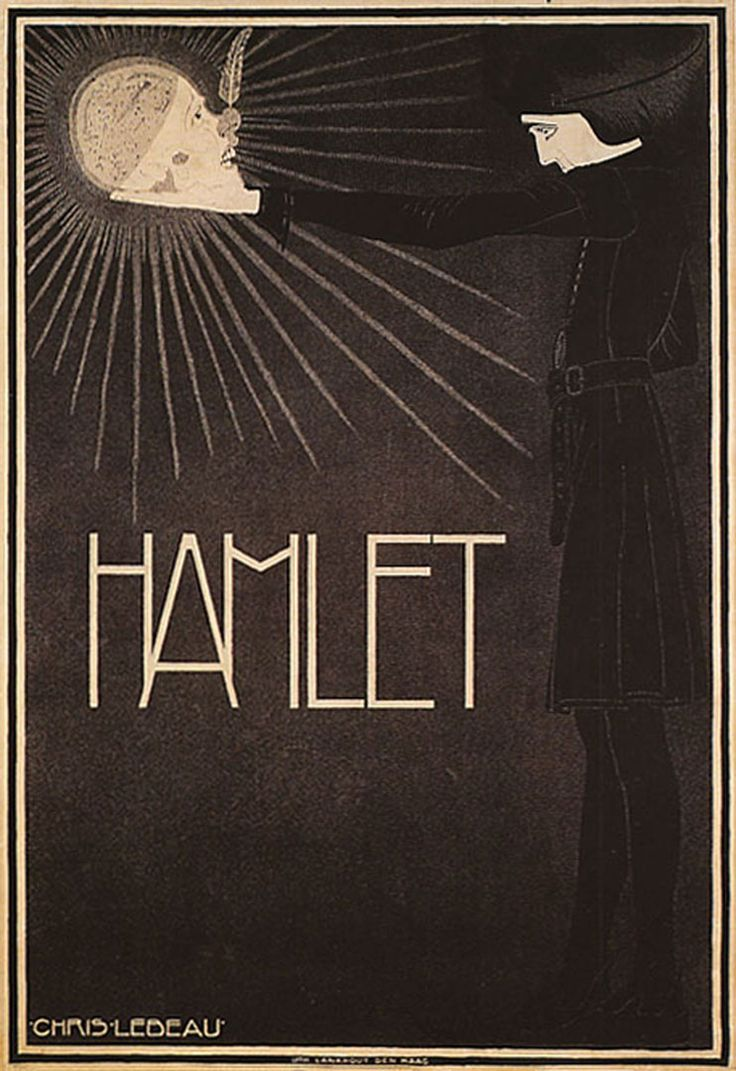 Hamlet. Coloured lithographed poster, 1916. Art by Chris Lebeau (Dutch, 1878-1945)