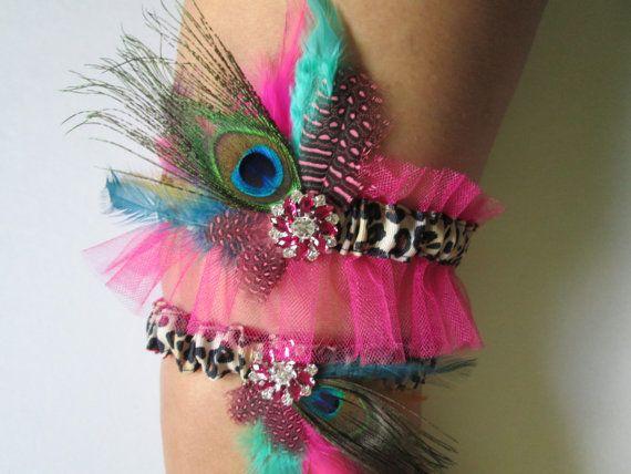 Peacock Garter Pink Wedding Garter Cheetah by NakedOrchidGarters