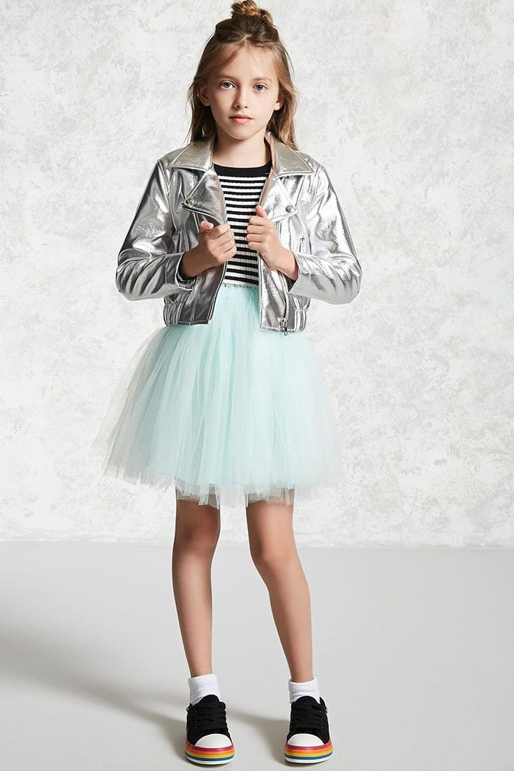 Forever 21 Girls - A metallic faux leather moto jacket featuring an asymmetrical zipper front, notched lapel, front zippered pockets, long sleeves, and an elasticized hem.
