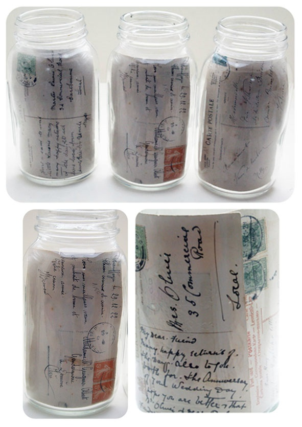 message in a bottle display jars. http://sesameandlilly.blogspot.com/search?q=postcards