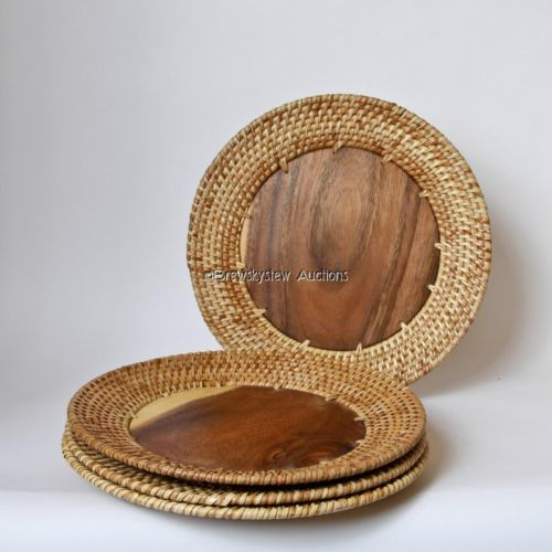 Zodax Rattan & Wood Charger Plates Set of 4