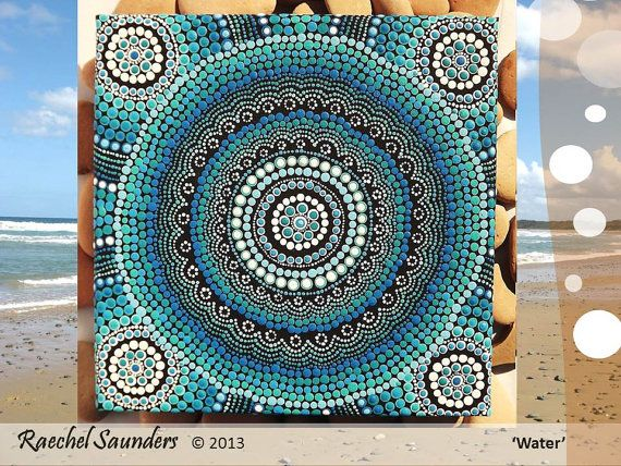 Aboriginal Dot Art Acrylic Painting Blue Decor
