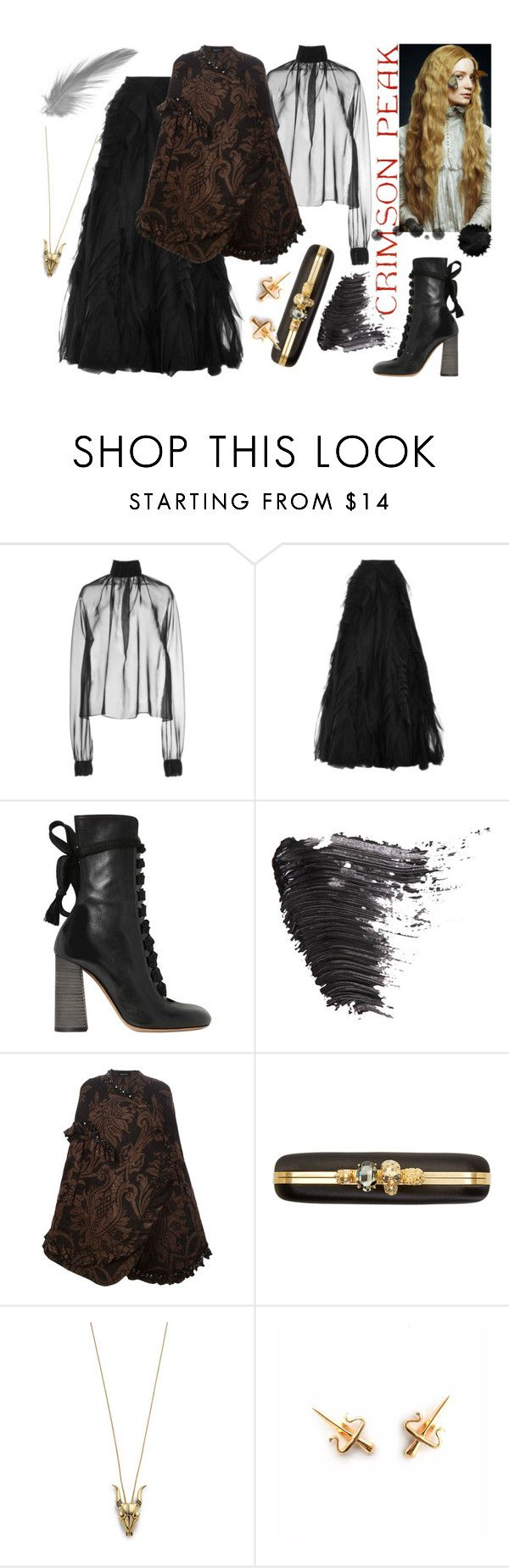 """""""Indulge Your Dark Side with Crimson Peak"""" by erindream ❤ liked on Polyvore featuring Wes Gordon, Monique Lhuillier, Chloé, Topshop, Simone Rocha, Alexander McQueen, House of Harlow 1960 and LeiVanKash"""