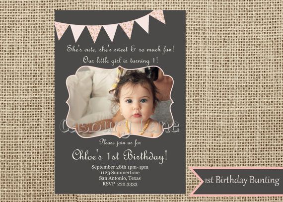 61 best images about Nejlas 1st Birthday – Baby Girl First Birthday Party Invitations