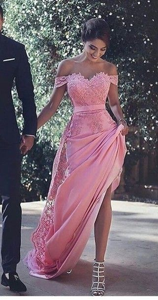 Pink Prom Dresses,off the shoulder Prom Dress,Pink Prom