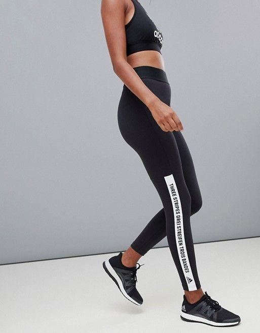 9c266e5768 adidas   adidas Training Brand With Three Stripes Slogan Leggings In Black