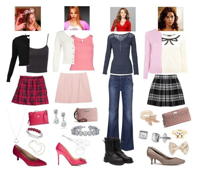 """""""Mean Girls Outfits"""" by daniellenicole ❤ liked on Polyvore featuring Therapy, H&M, Ralph Lauren, Miu Miu, Joe's Jeans, Alice + Olivia, Fat Face, VILA, CREAM and Jane Norman"""