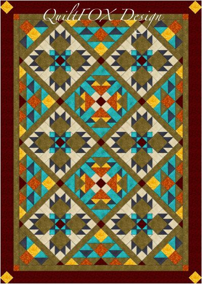 I used three different blocks and the Southwest color palette to create this beautiful Twin/Full Size Quilt with Bear Paws. The blocks are set