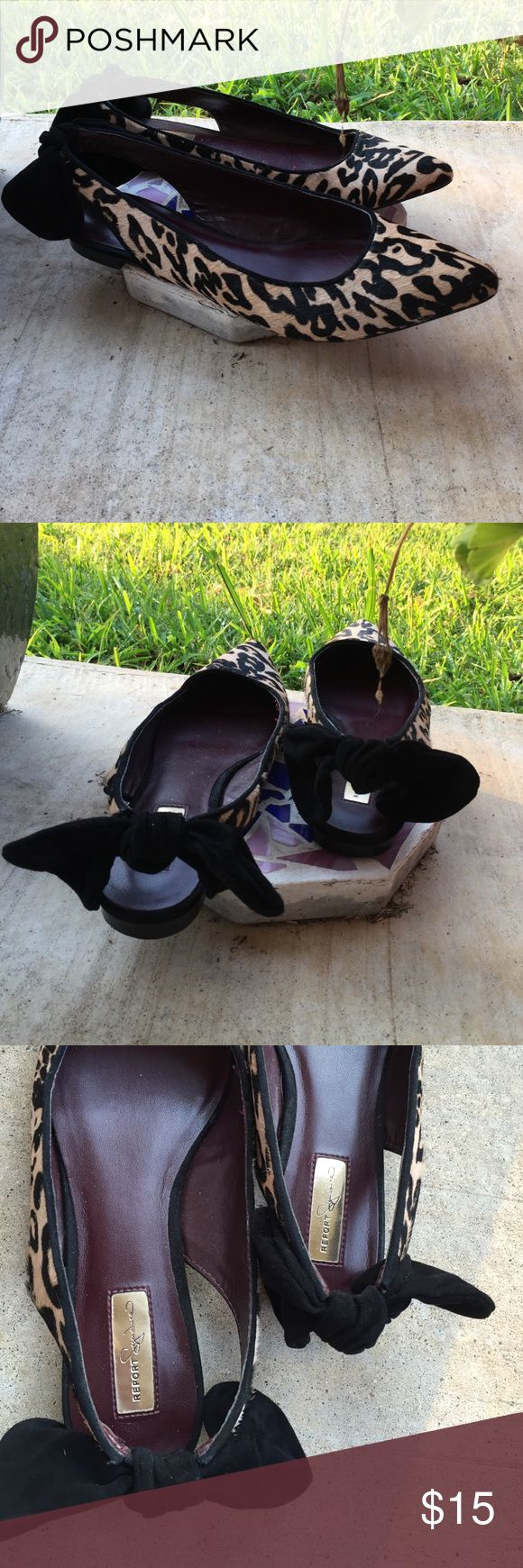 *Hold* Cowhide leopard print flats These flats are adorable!  Cowhide upper leather lining and sole.  Sling back. Faux suede bow on back.  Excellent condition! Report Signature Shoes Flats & Loafers