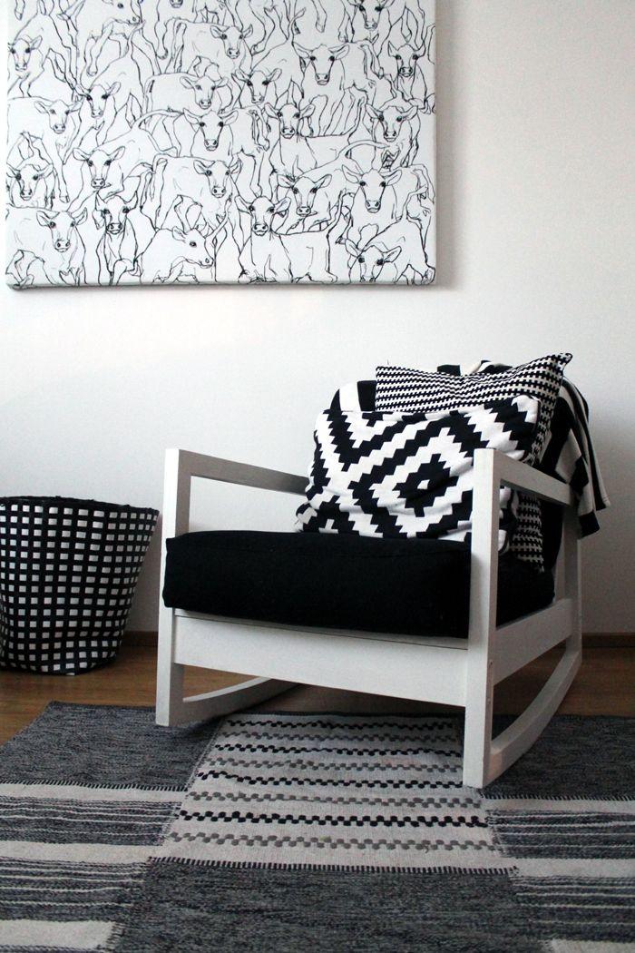 Black and white space with lillberg chair marimekko for Schaukelstuhl ikea lillberg