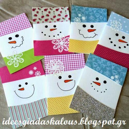 Ιδέες για δασκάλους: Κάρτες χιονανθρωπάκια!